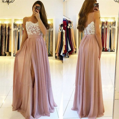 2020 Spaghetti Straps Pink Prom Dresses Cheap | Open Back Lace Chiffon Slit Formal Evening Gown BA9633_3