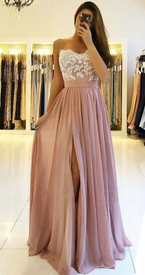 2020 Spaghetti Straps Pink Prom Dresses Cheap | Open Back Lace Chiffon Slit Formal Evening Gown BA9633_1