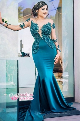 Sheer Tulle Long Sleeve Evening Gowns Cheap | Beads Appliques Mermaid Sexy Formal Dresses_2
