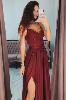 Spaghetti Straps Burgundy Prom Dresses Cheap 2020 | Sexy Side Slit Lace Appliques Evening Gown BC0867_3