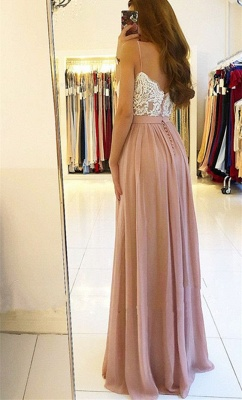 2020 Spaghetti Straps Pink Prom Dresses Cheap | Open Back Lace Chiffon Slit Formal Evening Gown BA9633_4