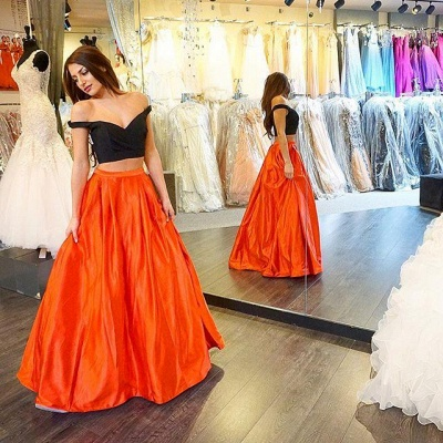 Off-the-shoulder A-line Two-Piece Long Sexy Prom Dress_2