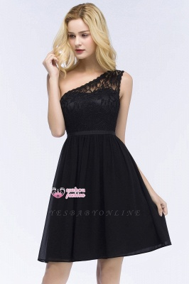 Top Short Homecoming Lace Dresses A-line One-shoulder Chiffon with Sash_2