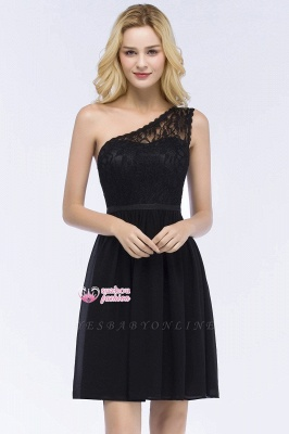 Top Short Homecoming Lace Dresses A-line One-shoulder Chiffon with Sash_5