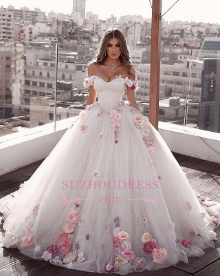 Glamorous Weeding Flowers Off-the-shoulder A-Line Dresses_2
