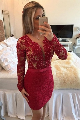 Red Long Sleeve Lace Short Homecoming Dress New Arrival Beadings Bowknot Mini Cocktail Dress BA7304_1