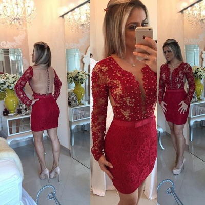 Red Long Sleeve Lace Short Homecoming Dress New Arrival Beadings Bowknot Mini Cocktail Dress BA7304_3