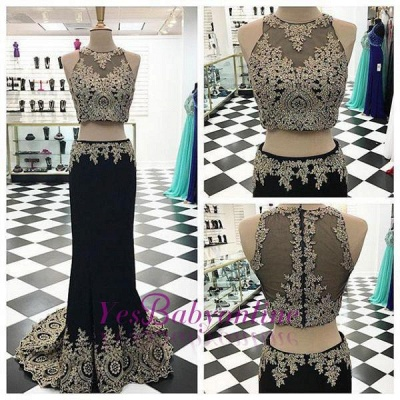Appliques Crystal Black Mermaid Two-Pieces Sleeveless Prom Dress_2