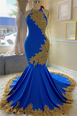 Gold Lace Royal Blue Prom Dresses with Beads | Open Back Plus Size Formal Dresses Cheap 2020_1