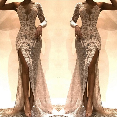Sexy Sheath Lace Evening Dresses 2020 | One Sleeves Side Slit Party Dresses_3
