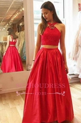 2020 A-Line Crystal Halter Two-Pieces Glamorous Red Prom Dresses_1