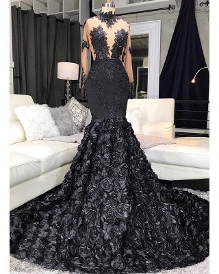 Lace Appliques Flowers High Neck Prom Dresses | Sheer Tulle Mermaid Evening Dresses_2