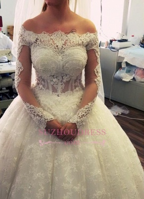 2020 Amazing Ball-Gown Off-the-Shoulder Lace Long-Sleeves Pearls Wedding Dresses_3