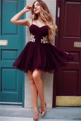 Spaghetti Straps Burgundy Homecoming Dresses Cheap Online | Gold Lace Appliques 2020 Hoco Dresses_2
