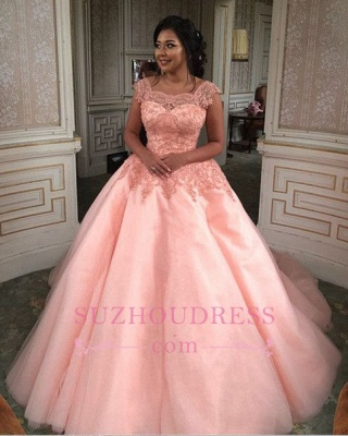 Newest Chic Long Cap-Sleeves Ball-Gown Scoop Lace-Appliques Quinceanera Dresses_1