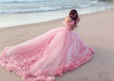 2020 Sweet 16 Quinceanera Dresses Off The Shoulder Corset Canfy Pink Wedding Dress with Flowers BA3070_4