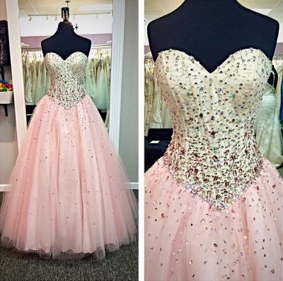 Sweetheart Pink Ball Gown Prom Dresses with Crystals Beadings 2020 Long Cute Evening Dresses in High Quality_2