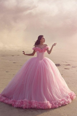 2020 Sweet 16 Quinceanera Dresses Off The Shoulder Corset Canfy Pink Wedding Dress with Flowers BA3070_3