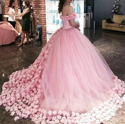 2020 Sweet 16 Quinceanera Dresses Off The Shoulder Corset Canfy Pink Wedding Dress with Flowers BA3070_5