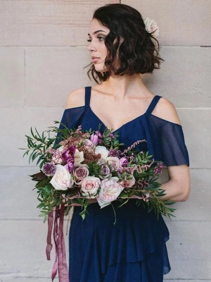Spaghetti-Straps High-Neck Glorious Royal-Blue V-neck Cold-Shoulder Bridesmaid Dresses_3