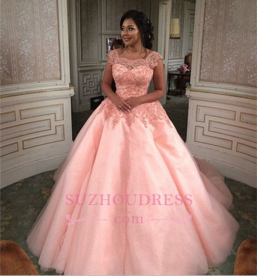 Newest Chic Long Cap-Sleeves Ball-Gown Scoop Lace-Appliques Quinceanera Dresses_5