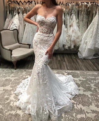 Sweetheart Mermaid Sexy Lace Appliques Beach Wedding Dresses for Bride_2
