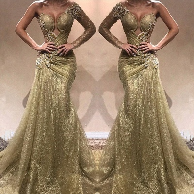 Champagne Gold One Sleeve Sexy Prom Dresses 2020   Appliques Ruffles Cheap Evening Gowns_3