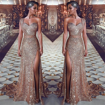 One Shoulder Sexy Split Gold Sequins Evening Dresses | Sleeveless Cheap Prom Dresses 2020 BC0131_3