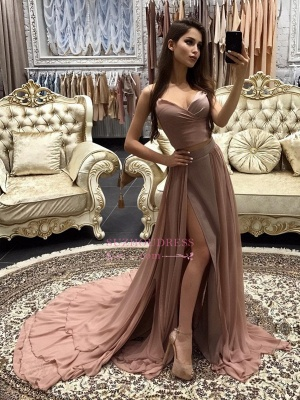 Sexy A-line Prom Dresses 2020 Layers Side-Slit Straps Long Evening Gowns CD0066_3