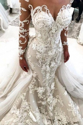 Glamorous Long Sleeves Mermaid Wedding Dresses 2020 | Sexy Flowers Mermaid Bridal Gowns with Detachable Train_1