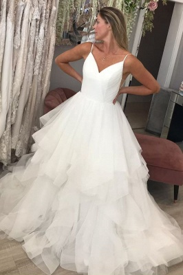 Spaghetti Straps Puffy Tulle Wedding Dresses | Sexy V-neck Bridal Gowns_1