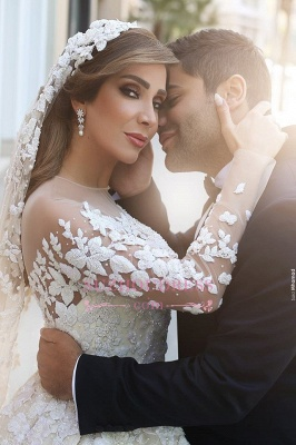 Gorgeous Crystal Appliques Wedding Dress 2020 Tulle Long Sleeves Bridal Gowns_1