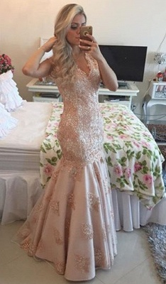 Sexy V-Neck Mermaid Crystal Long Formal Occasion Dress Lace Beadings Trumpet Evening Dress_2