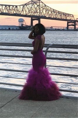 High Neck Mermaid Ruffles Prom Dresses 2020 | Cap Sleeve Lace Sexy Sheer Graduation Dress FB0358_5