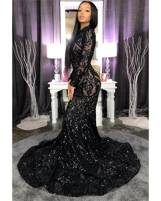 High Neck Shiny Appliques Prom Dresses | Mermaid Long Sleeve Evening Gowns BC4122_2