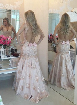 Sexy V-Neck Mermaid Crystal Long Formal Occasion Dress Lace Beadings Trumpet Evening Dress_4