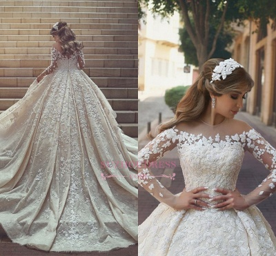 Gorgeous Crystal Appliques Wedding Dress 2020 Tulle Long Sleeves Bridal Gowns_3