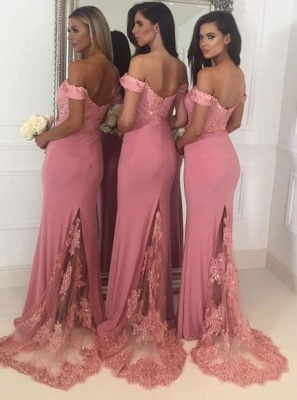 Beads Lace Off The Shoulder Cheap Bridesmaid Dress | Open Back Sexy Pink Maid of Honor Dresses BA9882_3