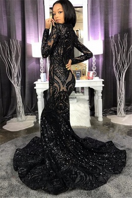 High Neck Shiny Appliques Prom Dresses | Mermaid Long Sleeve Evening Gowns BC4122_3