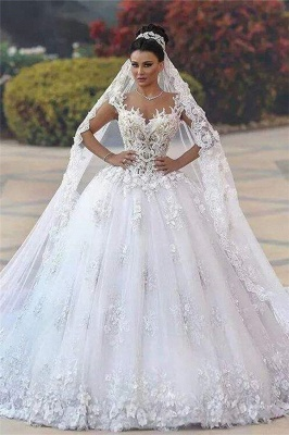 Glamorous Open Back Lace Appliques Wedding Dresses| 2020 Bridal Ball Gowns SK0153_1