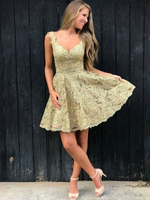 Sexy V-neck Gold Lace Short Homecoming Dresses Online | Sleeveless Cheap Hoco Dresses 2020 bc1897_3