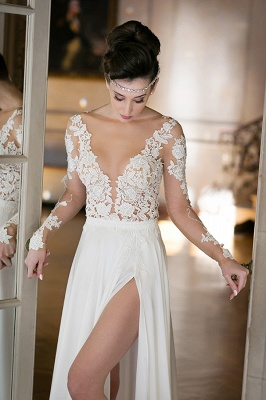 Plunging Neck Long Sleeve Summer Wedding Dress Chiffon Split 2020 Beach Bridal Gowns_6