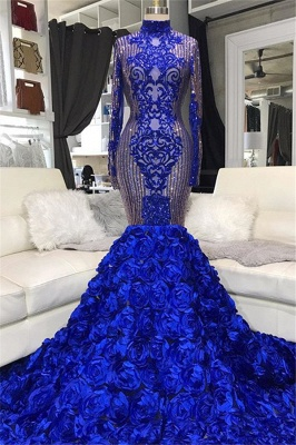 Shiny Sequins Blue Flowers Mermaid Prom Dresses | Appliques High Neck Long Sleeve Evening Gowns_1