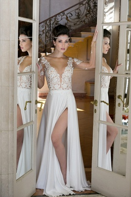 Plunging Neck Long Sleeve Summer Wedding Dress Chiffon Split 2020 Beach Bridal Gowns_5