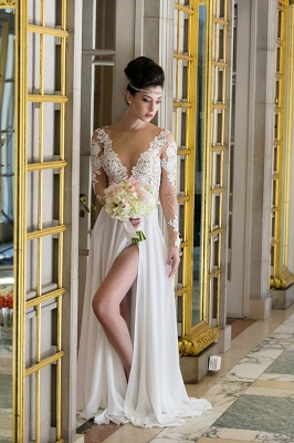 Plunging Neck Long Sleeve Summer Wedding Dress Chiffon Split 2020 Beach Bridal Gowns_1