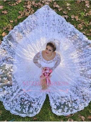 Lace A-line Luxurious Long-Sleeve White Wedding Dresses_3