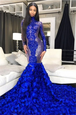 Shiny Sequins Blue Flowers Mermaid Prom Dresses | Appliques High Neck Long Sleeve Evening Gowns_2