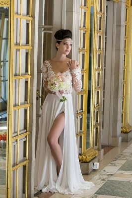 Plunging Neck Long Sleeve Summer Wedding Dress Chiffon Split 2020 Beach Bridal Gowns_3