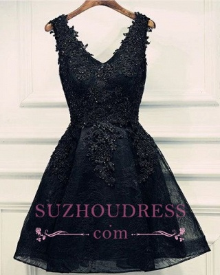 Lace-Up Short Beading Black Lace-Appliques V-Neck Homecoming Dresses_1