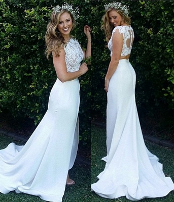 Two Piece Lace Wedding Dress 2020 Front Split Buttons Summer Outdoor Wedding Gowns_1